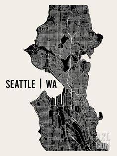 Seattle Art Print by Mr City Printing at Art.com