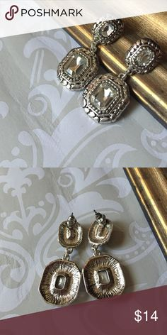Vintage style earrings Silver tone with clear crystals. Post back. PRICE FIRM UNLESS BUNDLED A Bohemian Child Jewelry Earrings