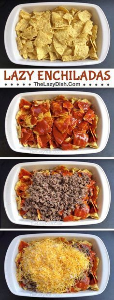 My family LOVES this easy dinner recipe! (Lazy Echilada Casserole) - Lazy Enchilada Casserole made with 6 simple ingredients: ground beef, cheese, enchilada sauce, salsa - Ground Beef Recipes, Turkey Recipes, Ground Beef Meals, Hamburger Meat Recipes Easy, Mexican Dishes, Mexican Food Recipes, Easy Dinner Recipes, Easy Meals, Easy Meat Recipes