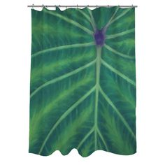 Add a touch of nature to your bathroom decor with this lovely green shower curtain. This tropical-themed curtain has an artsy pattern with a striking leaf design and is machine washable for your convenience.