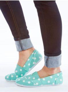 Polka-Dot Canvas Flats - Flats - Shoes