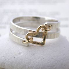contemporary silver and gold spiral heart ring - Soremi Jewellery Ltd