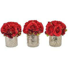 """8"""" Red Rose Arrangements - Faux Set of 3 Arrangements (365 TND) ❤ liked on Polyvore featuring home, home decor, floral decor, flowers, fillers, red, plants, backgrounds, phrase and quotes"""