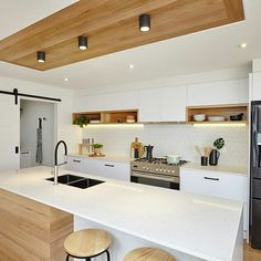 The combination of crisp whites and timber accents bring warmth to a kitchen Kitchen Design Gallery, Kitchen Room Design, Kitchen Layout, Kitchen Interior, Kitchen Decor, Kitchen Cabinets Nz, Kitchen Flooring, Kitchen Furniture, Office Furniture
