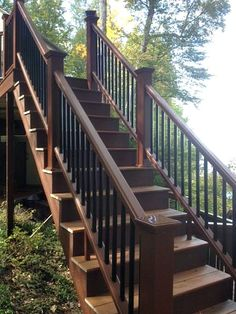 Composite stairs and railings by McClurg Remodeling & Construction Services. Composite stairs and railings by McClurg Remodeling & Construction Services. Exterior Stair Railing, Outdoor Stair Railing, Front Porch Railings, Stair Railing Design, Deck Railings, Railing Ideas, Concrete Stairs, Wooden Stairs, Banister Remodel