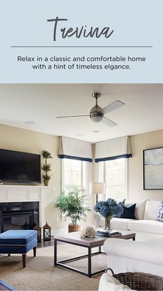 Create a peaceful home design with the timeless Brushed Nickel Trevina ceiling fan with a white opal shade and two LED bulbs. #ceilingfan #ceilingfans #fan #fans #indoorceilingfans #indoorfans #interiordesignideas #interiordesigntips #metal #metaldecor #metallic #nickeldecor #brushednickel #moderndecor #modernlighting #moderndesign #transitionalstyle #transitionaldecor #transitionaldesign #livingroomdecor #livingroomlighting #livingroomdesign #livingroominterior #simple #timeless #whiteopal