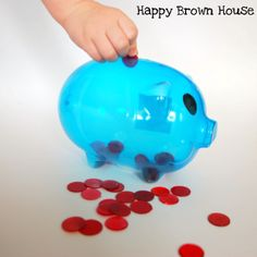 piggy bank games, if you have a clear bank it would be great on the light table