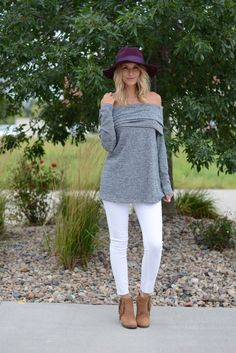 Cara Heather Gray Off The Shoulder Sweater    Foi Clothing Boutique   Off the Shoulder Sweater   Trimming Long Sleeve   Long Length   Thin Knitted Sweater   Grey Knitted Top   Fall Fashion Knit Tops   Women's Long Sleeve Ivory Knitted Top   Must Have   Buy now on www.foiclothing.com   Sweater Weather  