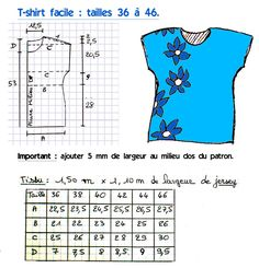 Patron: T-shirt facile (tailles 36 à 46 - French Shirt - Ideas of French Shirt - labobine.over-blo tutorial for simple t-shirt Sewing Blouses, Sewing Shirts, Women's Blouses, Dress Sewing Patterns, Clothing Patterns, Fabric Sewing, Shirt Dress Tutorials, Patron T Shirt, Couture Sewing
