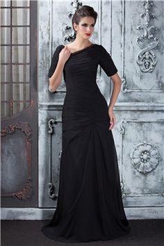 Short Sleeves Natural Elegant & Luxurious Floor-Length Sweep/Brush  A-line Zipper-up Chiffon Dress