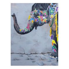 Painted Elephant Postcard - tap, personalize, buy right now! #Postcard #painted #elphant #elephant #indian #thai