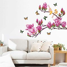 Purple Magnolia Flower Butterflies muurstickers – EUR € 19.38