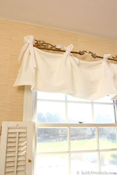 Sewing Curtains 8 No Sew Curtain Projects (Tutorial Included!) - Easy no sew curtain projects No Sew Curtains, White Valance, Decor, Curtains, Diy Home Decor, Home, Kitchen Window Dressing, Window Valance, Home Decor