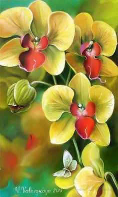Валевской Валентины, Валентины Михайловны, Gill Bye, Painting, Art Valentina Valevskaya, Желтая Орхидея, Wild Flowers