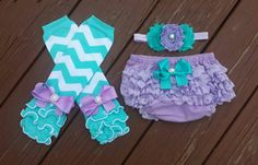 Lavender, Aqua, and White Chevron Legwarmers Bloomers & Headband Set, baby photo prop, cake smash set, birthday, baby sets, infant, toddler by BottomsNBows on Etsy