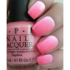 OPI Tickled Pink Ombre Manicure~Thats Hot! Pink, Suzi Shops Island... ($19) ❤ liked on Polyvore featuring beauty products, nail care, nail polish, nails, makeup, pink, opi nail varnish, opi nail lacquer, opi and opi nail polish
