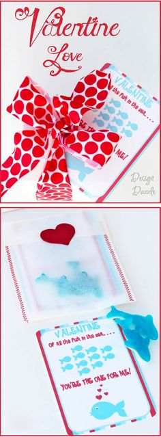 Valentine of all the fish in the sea you're the one for me! FREE printable. Use Swedish fish or gummy sharks for an easy Valentine - Design Dazzle