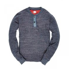 fe60faf71aa45 Blue Heather Red Henley Tee, Chambray, Menswear, Polo, Mens Tees, Cotton