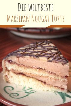 The BEST marzipan nougat cake – this cake with delicate nougat butter cream, cherry jam and marzipan blanket is always successful and heavenly! Perfect for Christmas and New Years recipes, cake Sour Cherry Jam, Nougat Torte, Austrian Recipes, German Recipes, Traditional Christmas Dinner, Hazelnut Cake, Almond Paste, Christmas Baking, Christmas Recipes
