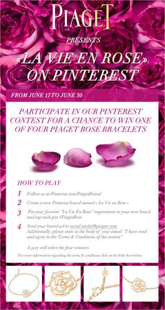 ".@Piaget launches its very first #Pinterest #Contest entitled ""La Vie En Rose"""