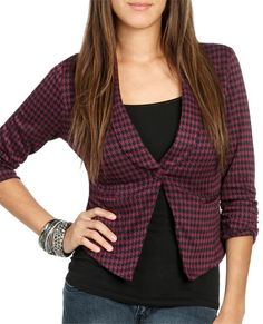 Ruched Sleeve Houndstooth Blazer from WetSeal.com