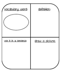 Vocabulary ideas can be used like regular four square for Vocabulary graphic organizer templates