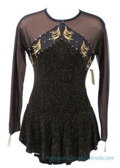 Consignment Custom Black Gold Twinkle Embroidery Stones Adult L at www.SkatersChoiceColorado.com