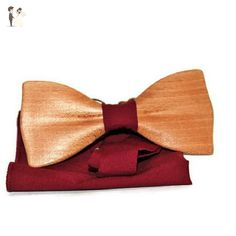 Wooden bow tie in the classic shape, Handmade bow tie from beech wood, casual tie, unisex bow tie - Groom ties (*Amazon Partner-Link)