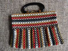 Beaded Handbag - Colorful Wooden Beads and Lucite Handle by cherylanngoods on Etsy