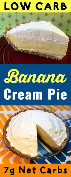 This tasty low carb dessert has only 7g net carb per slice. The banana cream pie is Atkins, Banting, THM, LCHF, Keto, Sugar Free and Gluten Free compliant. It's a truly delicious dessert. #Lowcarb #lowcarbdiet #keto #ketogenic #LCHF #diet #best #glutenfree #sugarfree #healthy