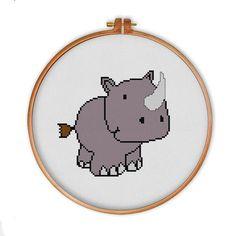 Cute Rhino cross stitch pattern modern cross stitch by ThuHaDesign