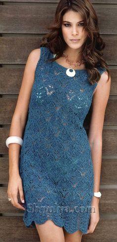 www.SHPULYA.com - Синее ажурное платье спицами