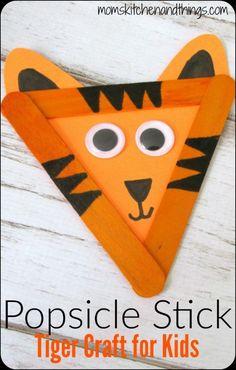 Popsicle Stick Tiger Craft for Kids Popsicle Stick Tiger Cr. - Popsicle Stick Tiger Craft for Kids Popsicle Stick Tiger Craft for Kids - Popsicle Stick Crafts For Kids, Animal Crafts For Kids, Fun Crafts For Kids, Popsicle Sticks, Craft Stick Crafts, Toddler Crafts, Craft Kids, Craft Sticks, Jungle Crafts Kids