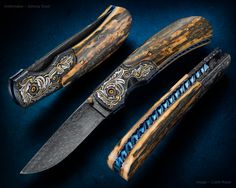 Baron Fine Folder...Alice Carter engraving, Exhibition grade mammoth ivory scales.