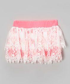 Love this Pink & White Lace Skirt - Toddler & Girls on #zulily! #zulilyfinds