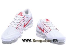 more photos 1791b 23cf7 Nike Air VaporMax 2018 Flyknit - Coussin paume Running Chaussures Pour  Homme Blanc   rouge