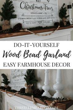 DIY Wood Bead Garland for easy farmhouse decor #farmhouse #DIY #woodbeadgarland #garland #manteldecor #fireplace