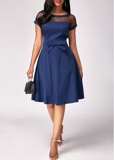 Everyone needs a beautiful navy dress! Loving the detailing of the Blue Fishnet Panel Bowknot Embellished Dress! The fishnet paneling against the stunning navy is perfect. Women's Fashion Dresses, Sexy Dresses, Cute Dresses, Casual Dresses, Short Sleeve Dresses, Ivory Dresses, Cheap Dresses, Beautiful Dresses, Casual Outfits
