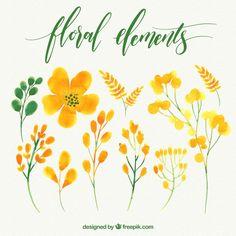 Set of watercolor flowers Free Vector