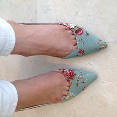 Seafoam green floral heels