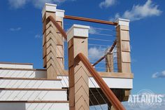 Atlantis Cable Railing SC combines the natural beauty of wood with the streamlined look of patented RailEasy™ fittings and cable. Front Porch Railings, Front Porch Design, Deck Railings, Railing Ideas, Cable Stair Railing, Cable Railing Systems, Balcony Railing Design, Balcony Deck, Cable Fencing