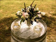# white #wine #barrels #celebration #stands #pink #lysianthus #pink #veronica #alstromeria