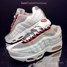 Nike Mens Air Max 95 Trainers White/Red sz 10 Rare 110 Leather Sneakers US 11 45  | eBay