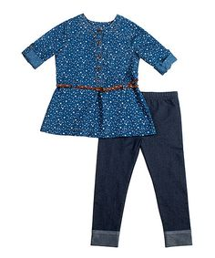 Look at this Little Lass Chambray Top & Gray Leggings - Infant, Toddler & Girls on #zulily today!