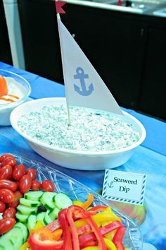 ahoy its a boy baby shower ideas games ~ ahoy its a boy baby shower ideas ; ahoy its a boy baby shower ideas food ; ahoy its a boy baby shower ideas games ; ahoy its a boy baby shower ideas diy ; ahoy its a boy baby shower ideas anchors Baby Shower Food For Boy, Fotos Baby Shower, Baby Shower Niño, Shower Bebe, Baby Shower Decorations For Boys, Boy Baby Shower Themes, Nautical Theme Baby Shower, Shower Party, Bbq Decorations