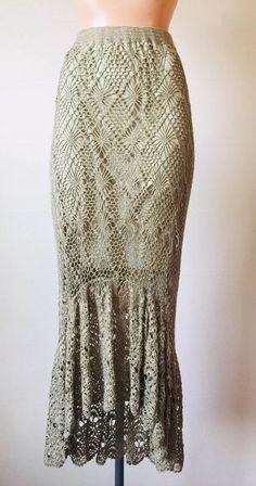 15faae839 M Tan Crochet Maxi Skirt Vintage Flapper Boho Gypsy Bohemian Mermaid Vintage  | eBay Bohemian Clothing