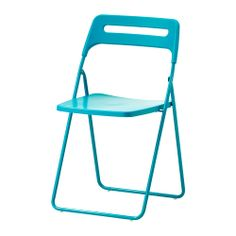 NISSE Folding chair IKEA Folds flat to save space when not in use. Can be hung on a hook on the wall; clears floor space.