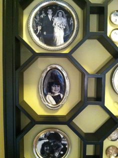 Old family photos on silver trays <3