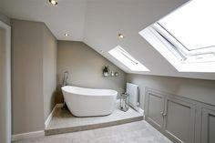 ideas bath room inspiration white farrow ball for 2019 Attic Master Bedroom, Attic Bedroom Designs, Bedroom With Bath, Attic Rooms, Bedroom Loft, Bath Room, Loft Ensuite, Loft Bathroom, Upstairs Bathrooms