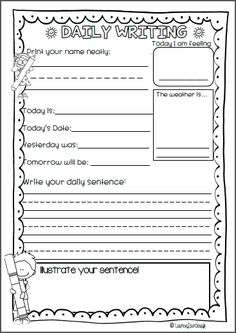 Guided Writing!  Daily writing pages for use in Pre-Primary, Kindergarten and First Grade. Use as part of your every day morning routine.  Use Guided writing practice to: * Teach and practice handwriting,  * Learn days of the week and writing the date,  * Make observations about weather and feelings,  * Write, copy or complete a sentence and draw a picture.